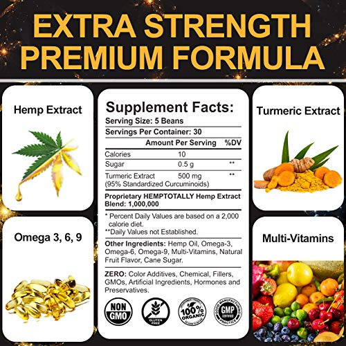 Hemp Jelly Beans with Turmeric Curcumin Premium 1,000,000 for Pain, Anxiety, Stress & Inflammation Relief - High Potency Hemp Turmeric Complex Supplement for Support Immune, Joint, Sleep, Mood -150Cts
