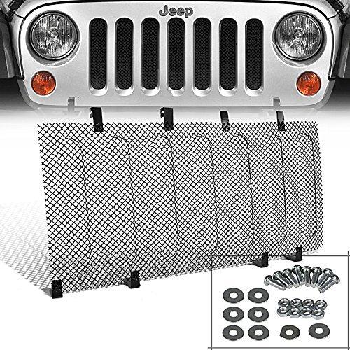Spec-D Tuning HBG-WRG07SSJM Jeep Wrangler JK Black Stainless Steel Mesh Hood Grille Insert Kit ()