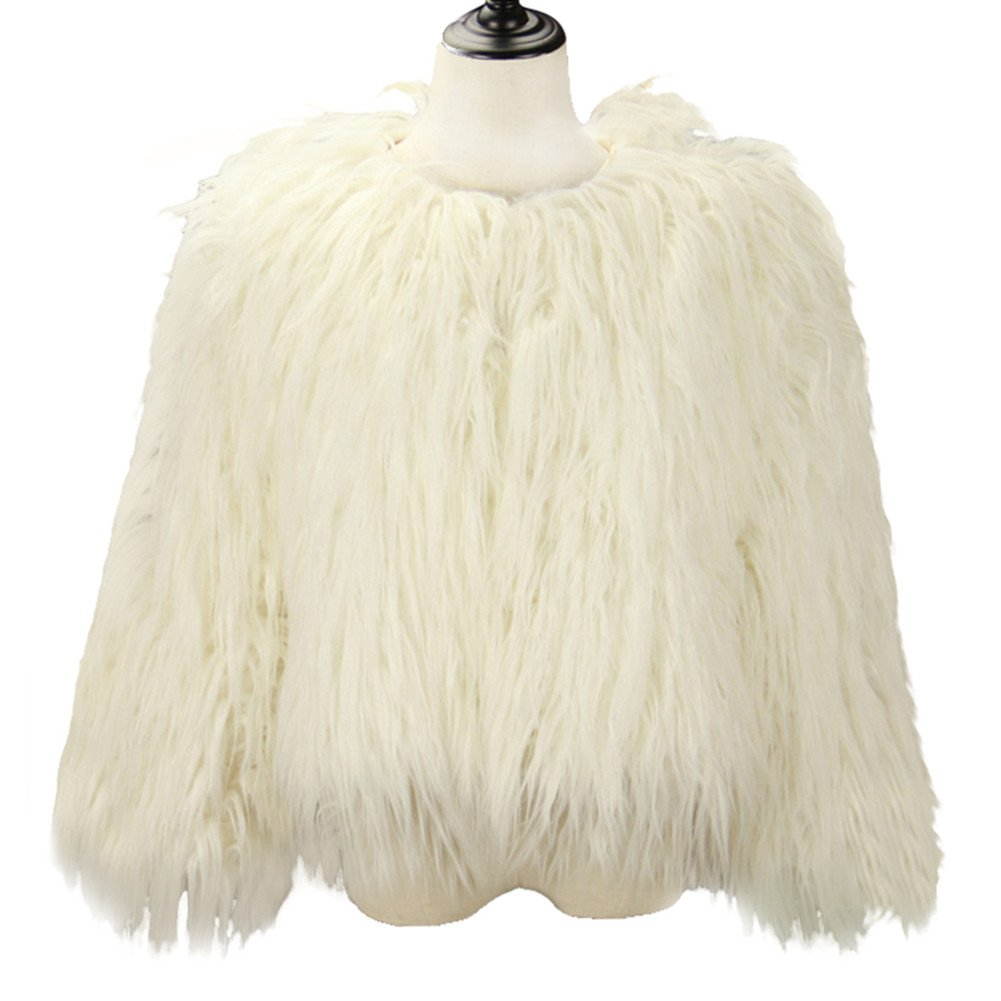 Shawls & Wraps | Vintage Lace & Fur Evening Scarves Dikoaina Womens Solid Color Shaggy Faux Fur Coat Jacket $39.99 AT vintagedancer.com