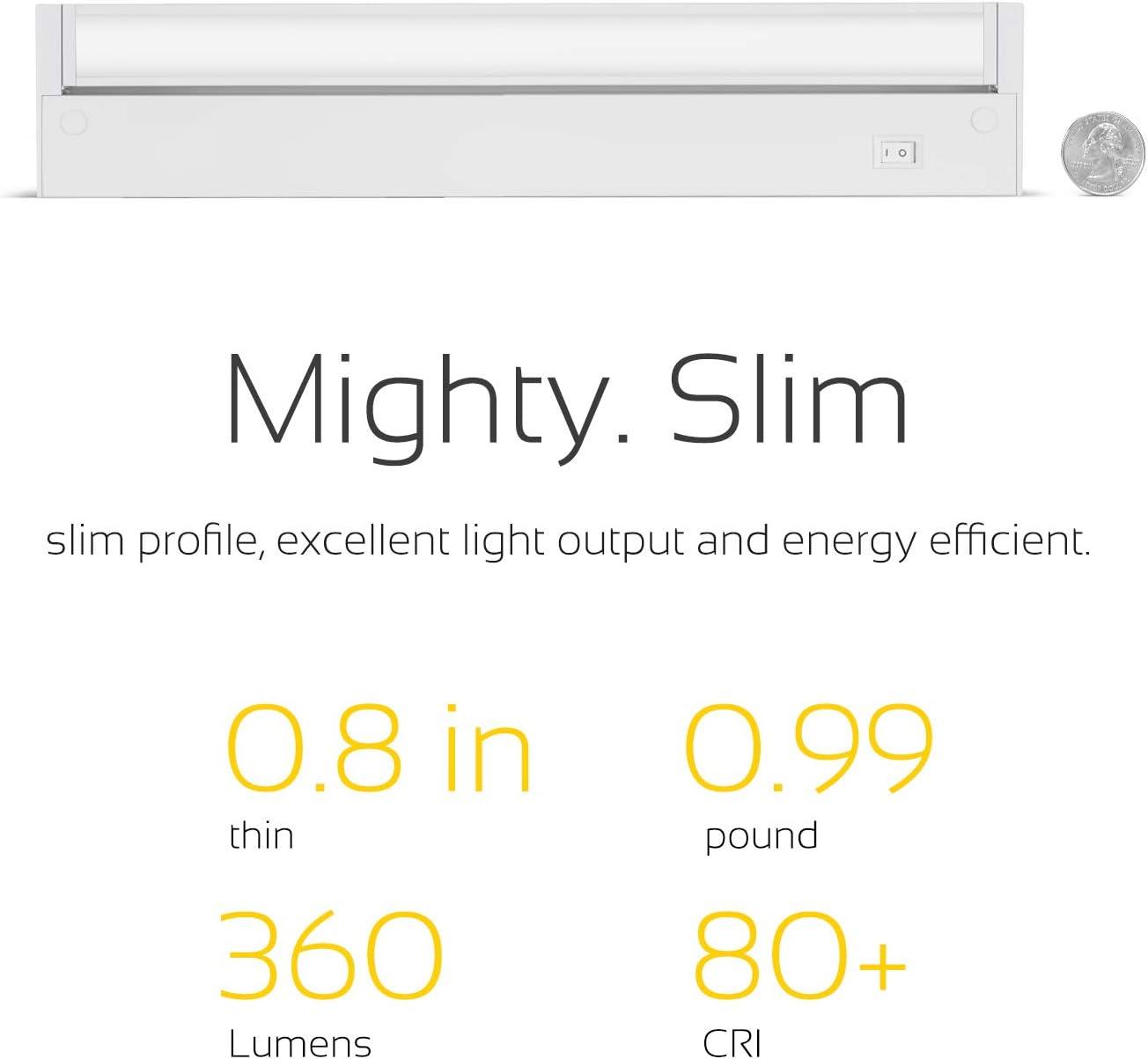 GetInLight Swivel LED Under Cabinet Lighting Fixture, ETL Listed, Ultra Slim Design, Soft White 3000K, White Finished. 12 Inch, IN-0108-2-WH 2nd Generation