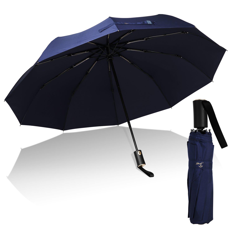 Travel Umbrella,Auto Open & Close, Travel 10 Ribs Folding Golf SizeUmbrella (blue) by Jemess (Image #1)