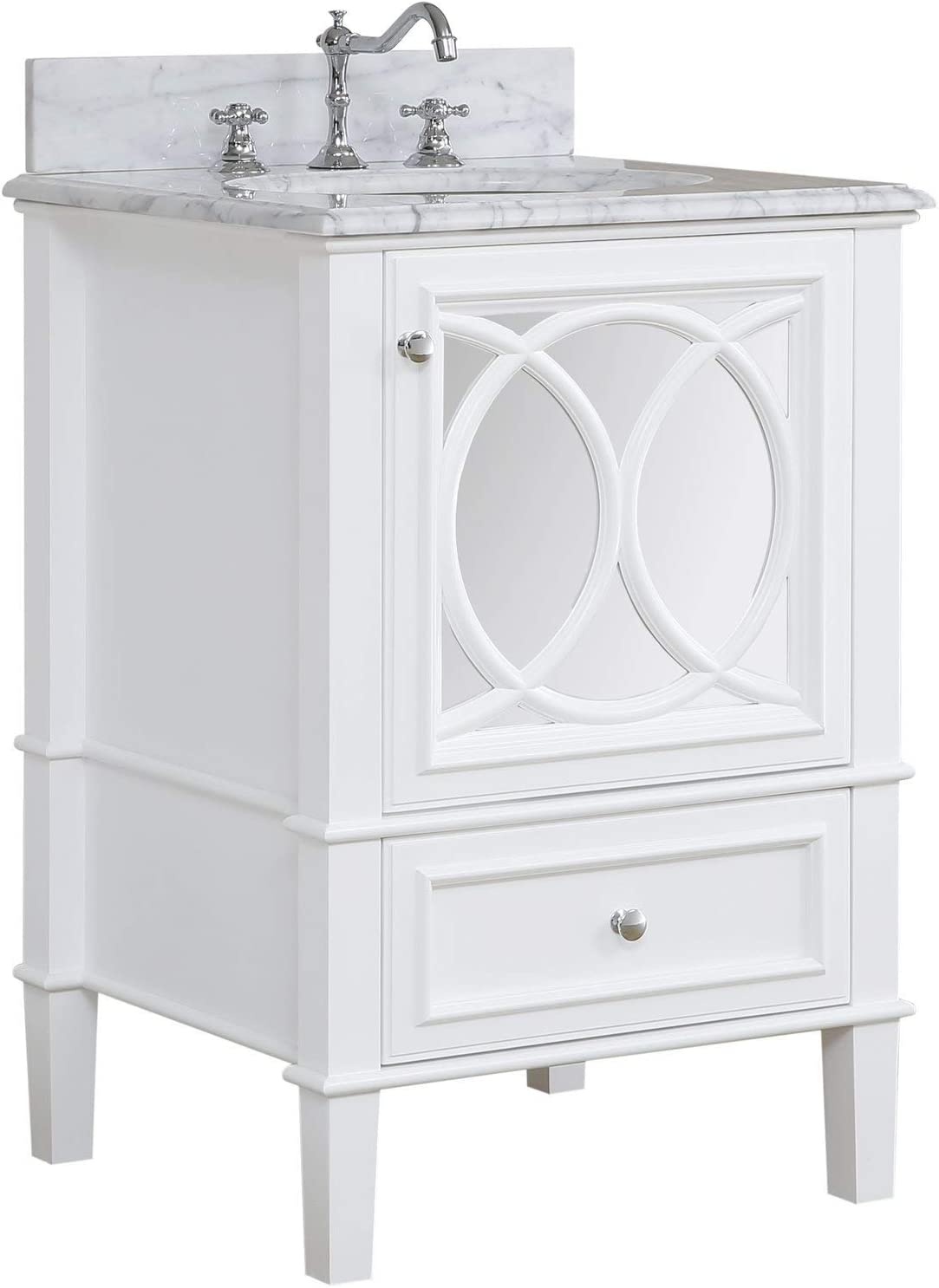 Amazon Com Olivia 24 Inch Bathroom Vanity Carrara White Includes White Cabinet With Authentic Italian Carrara Marble Countertop And White Ceramic Sink Kitchen Dining