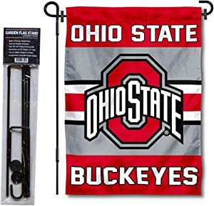 College Flags & Banners Co. Ohio State Buckeyes Garden Flag with Stand Holder