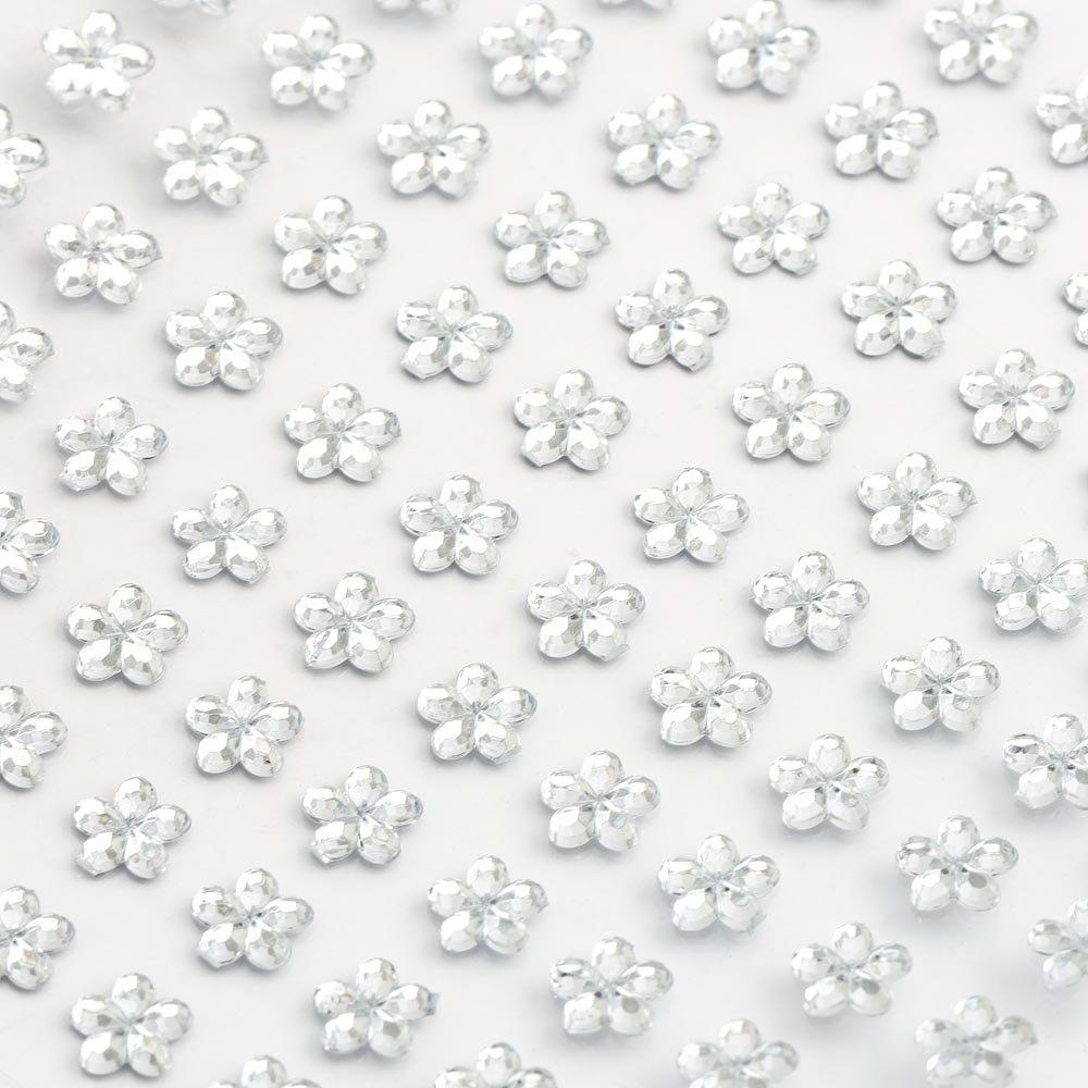 6mm Clear Flower ✽ Self Adhesive Stick on Gems ✽ 100 per sheet IO