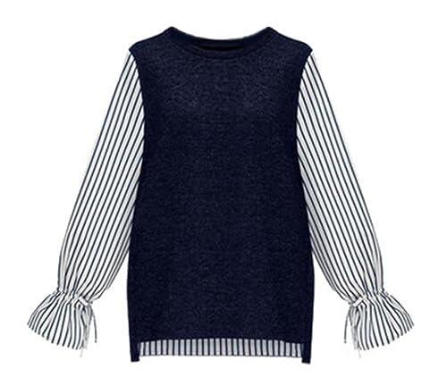 AILIENT Blusas Mujer Camiseta Mangas Largas Casual Elegante A Rayas Oficina Blouses T Shirt Suelto Tops