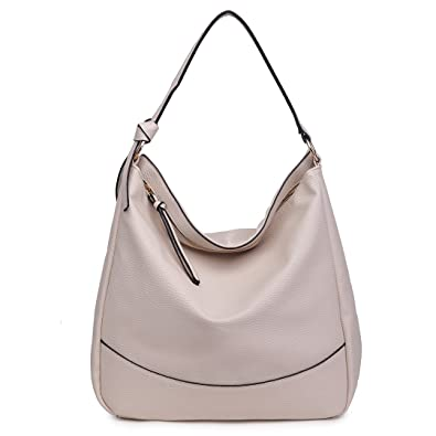 3bea9e0f17 Miss Lulu Women Hobo Shoulder Bag Fashion Design Faux Leather Handbag (1761  Beige)