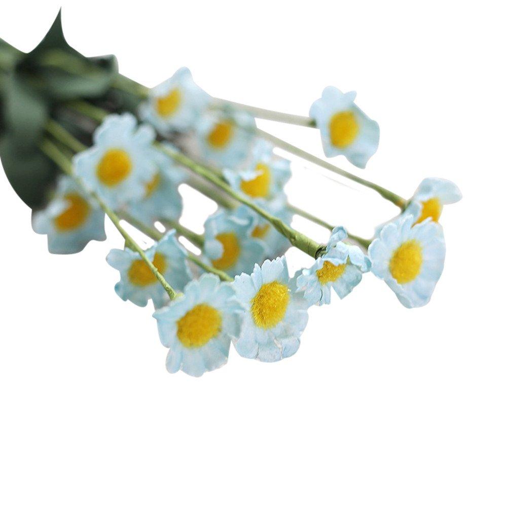 Sonnena Künstliche Seide gefälschte Blumen Blatt Gänseblümchen Kunstblume Blumenstrauß Blumen-Bouquet Bridal Bouquet Blume Hochzeit Home Party Dekoration 15 Stück Bouquet (Blau)
