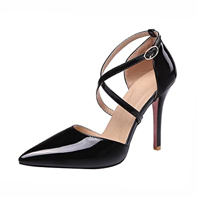Agodor Womens High Heels Ankle Strap Court Shoes Patent Leather Stiletto  Elegant Pointed Toe Summer Shoes