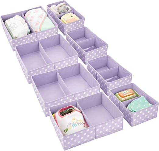 mDesign Childrens Room Storage Box /— Fabric Storage Box for Nurseries and Bedrooms /— Childrens Wardrobe Organiser with 2 Compartments /— Light Purple//White Dots