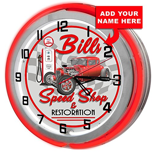 """Redeye Laserworks Personalized Speed Shop 18"""" Red Double Neon Garage Clock from"""