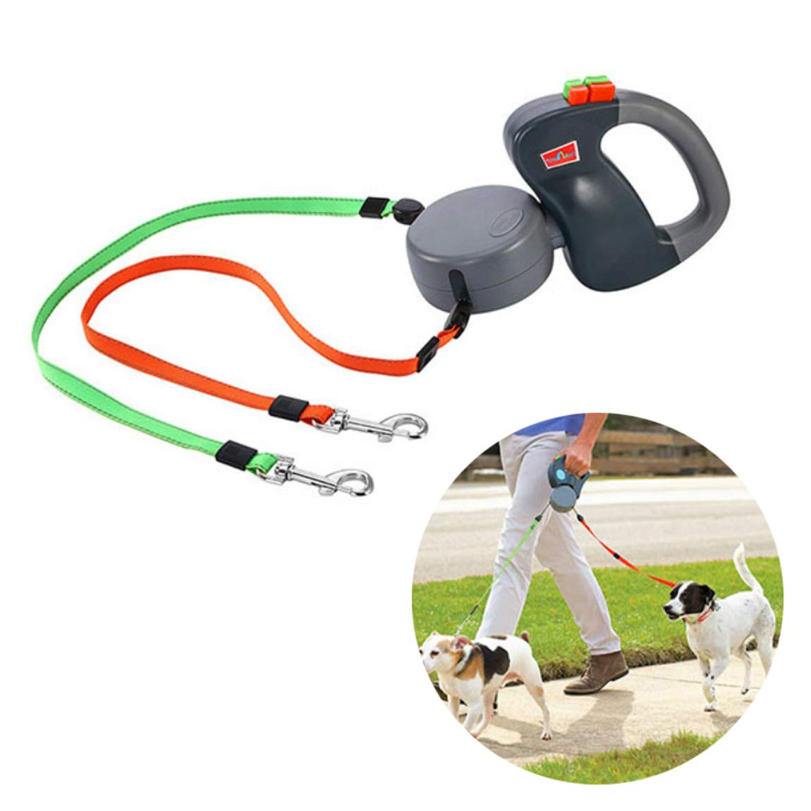 PanXeal Dual Doggie Pet Leash Up with Innovative Gel Handle to 50 Lbs Per Dog and Zero Tangle Walk Two Dogs at Once