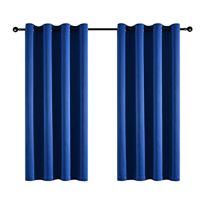 Amazoncom Kotile Ring Top Royal Blue Curtains 2 Panels Home