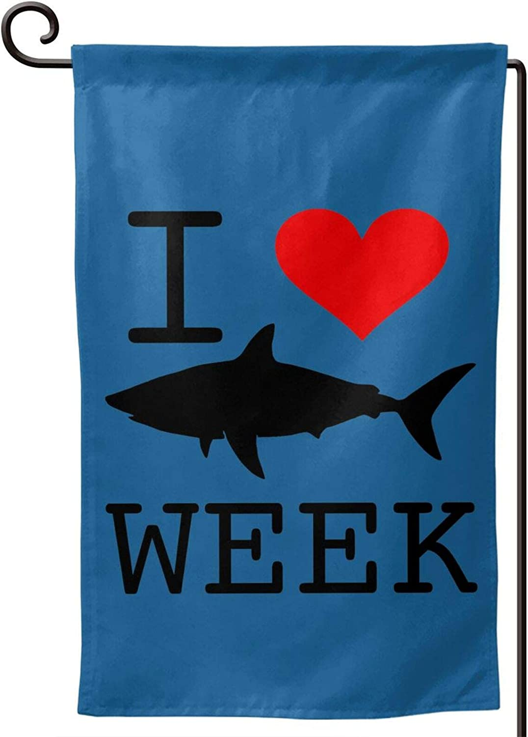 OPKB I Love Sharks Week Garden Flags,Double Sided Outdoor Holidays Yard Flags Fall Thanksgiving Harvest Rustic Yard Outdoor Decoration Square 12.5 x 18 Inch