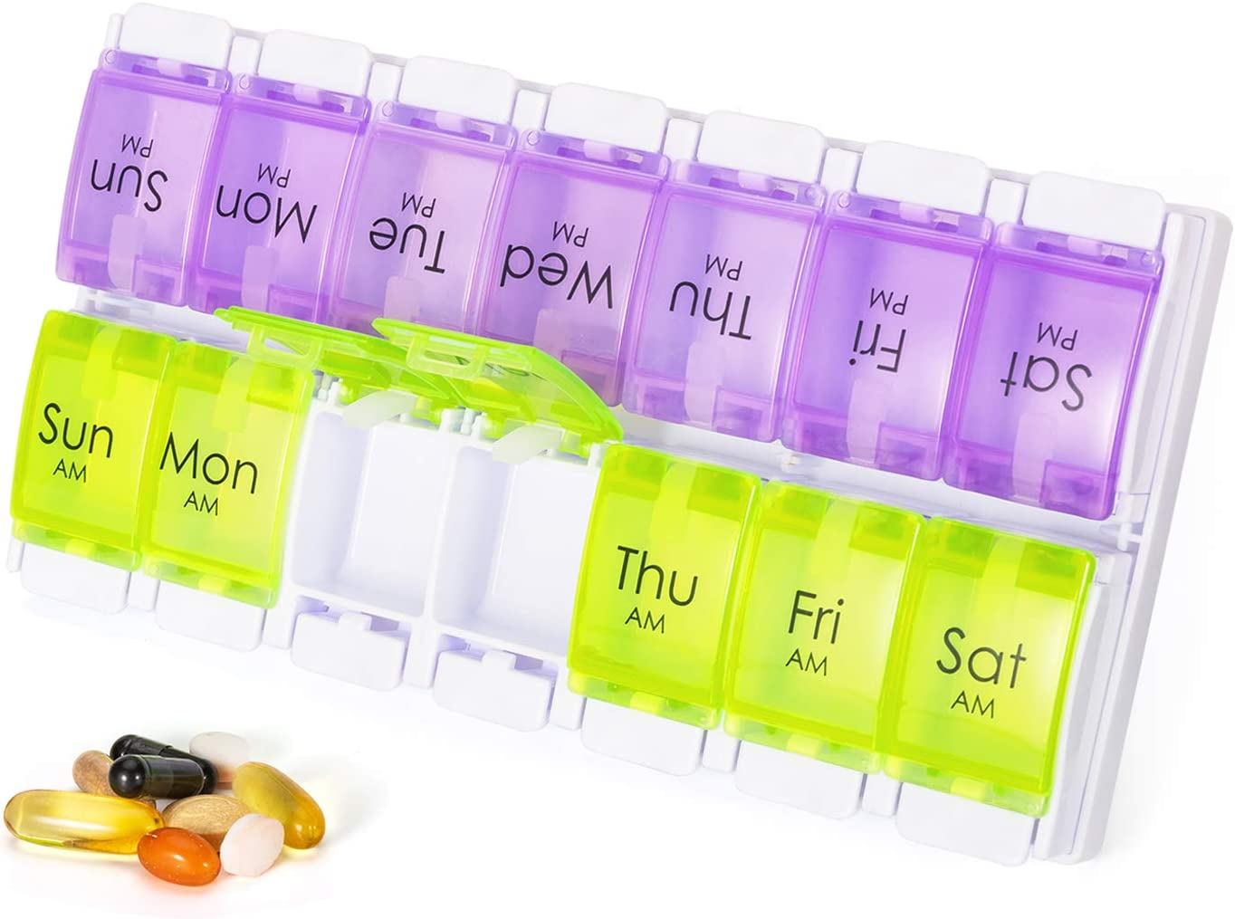 Weekly Pill Organizer Large, 7 Day 2 Times a Day Medicine Box Dispenser with Giant Container to Store Vitamin/Supplements, Portable for Travel (2 Rows Am Pm Pill Case with Tray Holder)