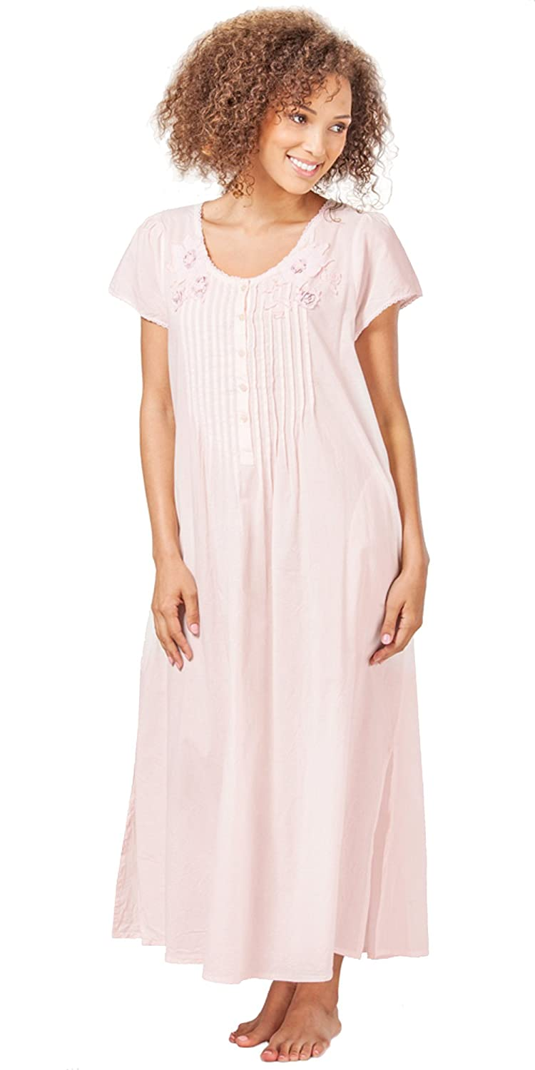 La Cera Short Sleeve Lace-Trim Cotton Nightgown in Pink (Medium (10 ... 3dd197b1a