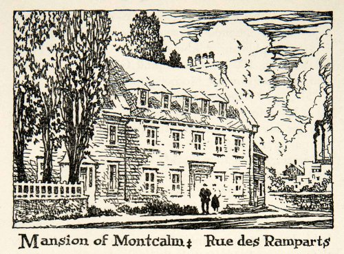 1947 Lithograph Mansion Montcalm Quebec City Canada 40 Rue De Ramparts House Art - Original In-Text - Oakley Canada Military