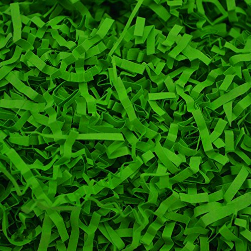 (Dushi Crinkle Cut Paper Shred Filler for Packing and Filling Gift Baskets Perfect for Stuffing Gift Bags 100g (Light Green))