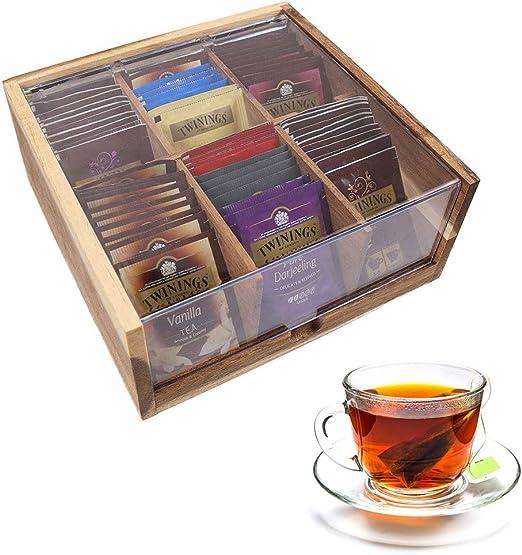 UNHO Caja para Bolsitas de Té con 6 Compartimentos Caja de Madera ...