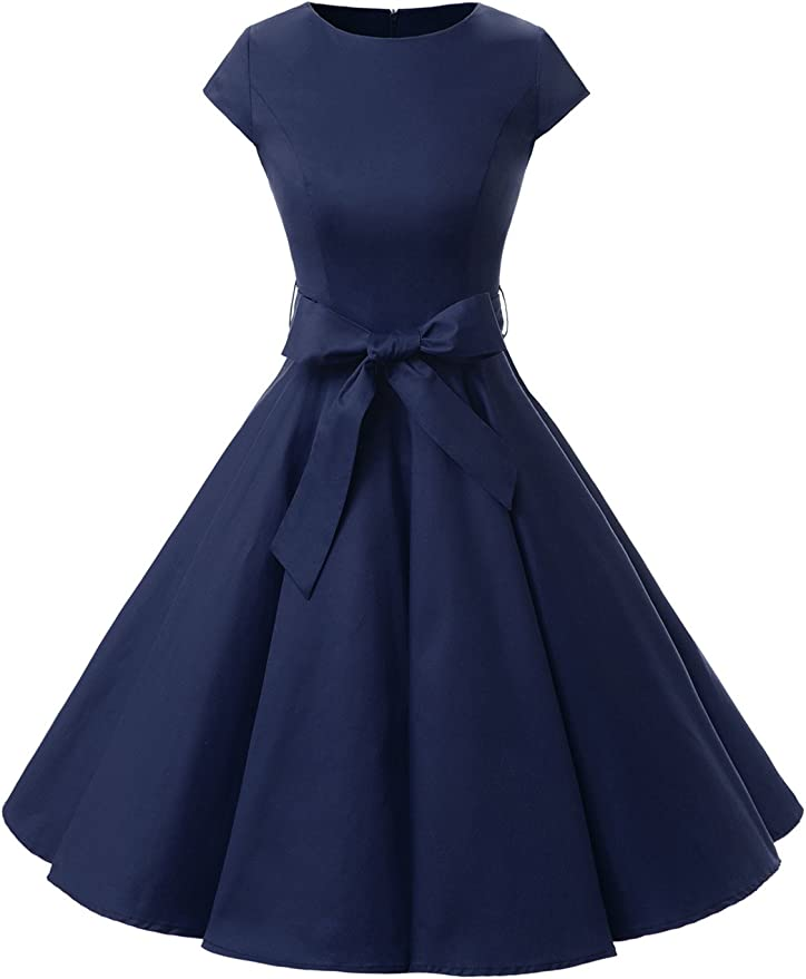 TALLA S. Dressystar Vintage 1950s Polka Dot and Solid Color Prom Dresses Cap-Sleeve Navy