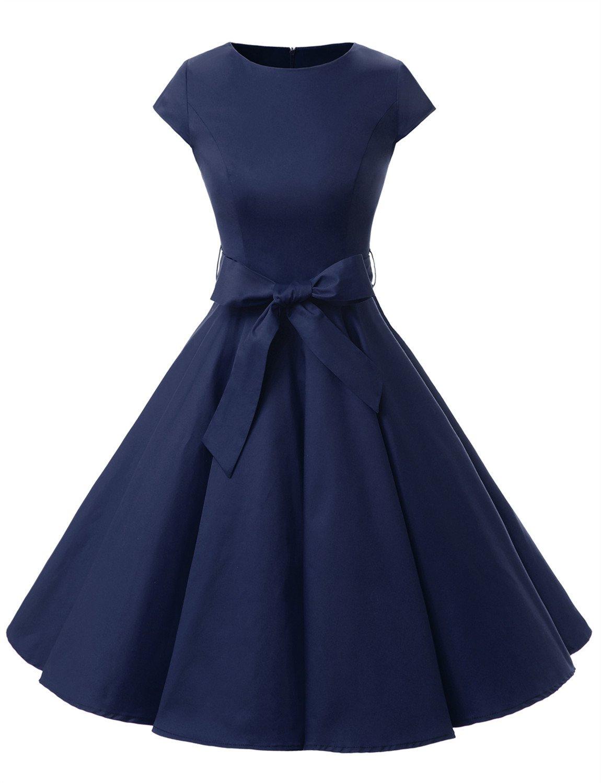 Dressystar DS1956 Women Vintage 1950s Retro Rockabilly Prom Dresses Cap-Sleeve XXL Navy