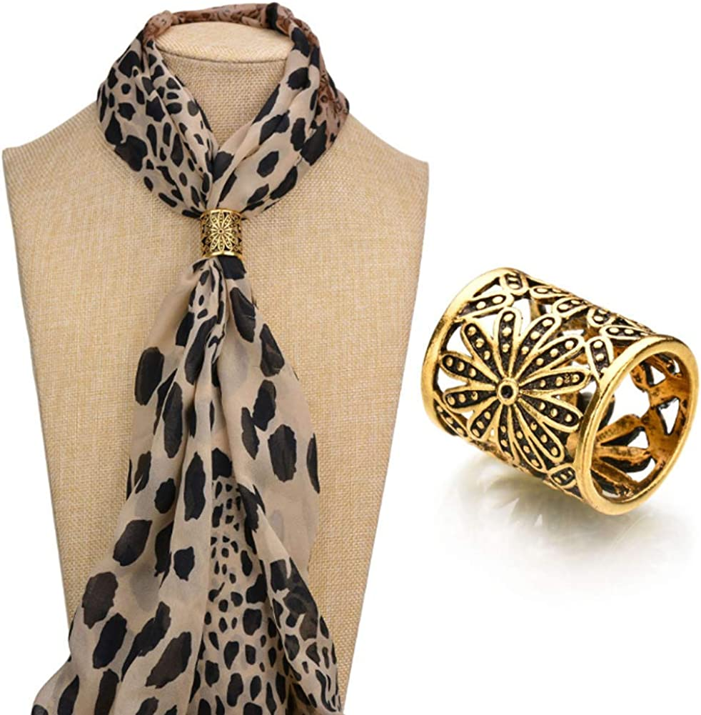 Joyci 3pcs Retro Womens Scarf Ring Clip Slide in Gold Silver Tone Metal Antiqued Hollow Tube Chiffon Buckle