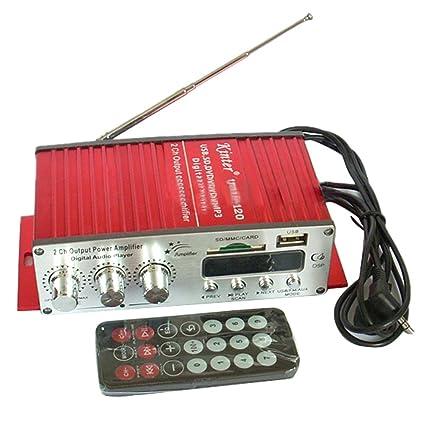 MA120 Kinter Amplificador de Sonido Estéreo Con Control Remoto 2 Canales 12V Tarjeta USB SD -