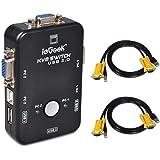 ieGeek Switch KVM USB Box + Câbles VGA USB pour PC Moniteur / Clavier / Souris Contrôle (2 Ports)