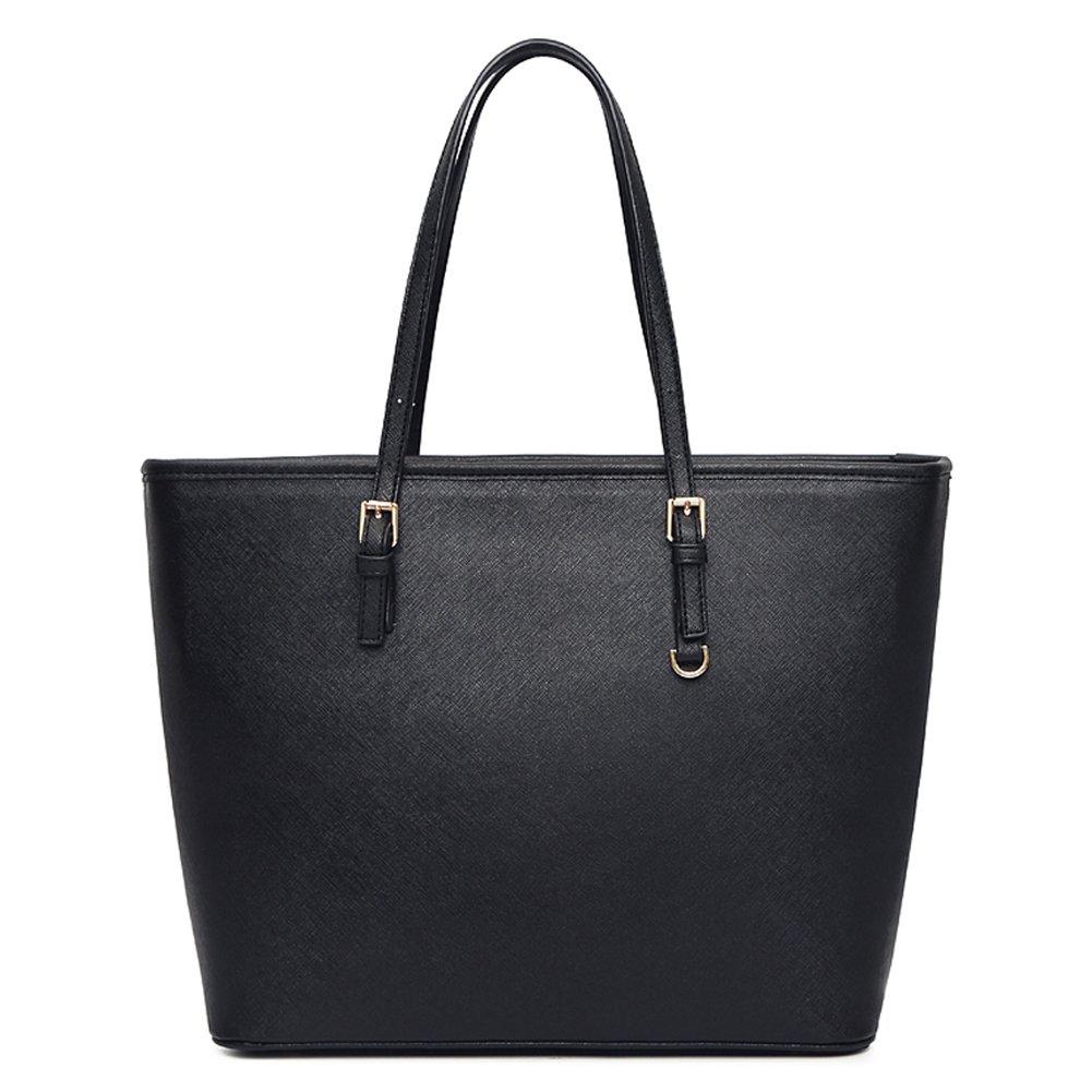 Vechoo Womens Handbag Tote Bag Shopping Bag (Classic Black) by Amazon