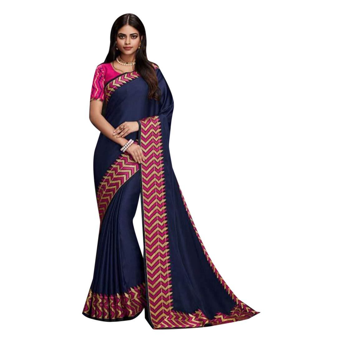 Navy bluee Plain Border Saree Pink Blouse Evening Wear Party Sari 7493