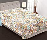 Stylo Culture Indian Kantha Bedspread Single Size Girls White Cotton Paisley Hand Stitched Blanket Bedding Throw Bed Cover By