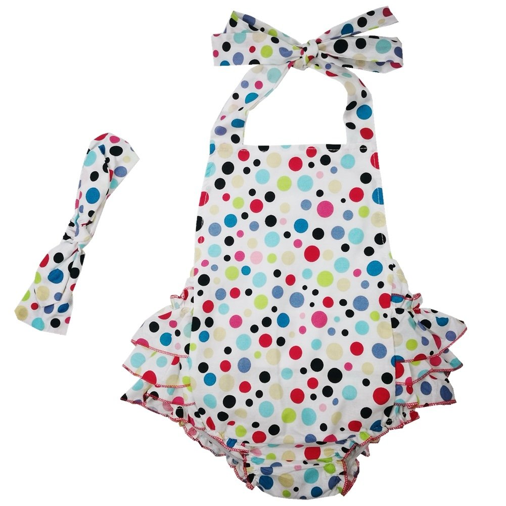 DQdq Baby Girls' Cotton Ruffles Romper Summer Dresses With Headband Multicoloured Dot Tag M/12 Months