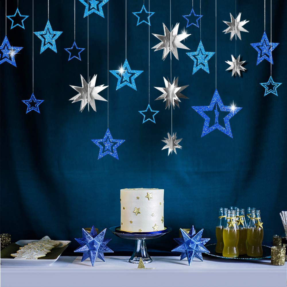 20pcs Blue and Silver Star Party Decoration Kit Colorful Decor Combo Metallic glitter 3D Star Garland Centerpieces Twinkle Little Star Cutouts Party supplies Hanging Decor for Kids Boys Girls Room
