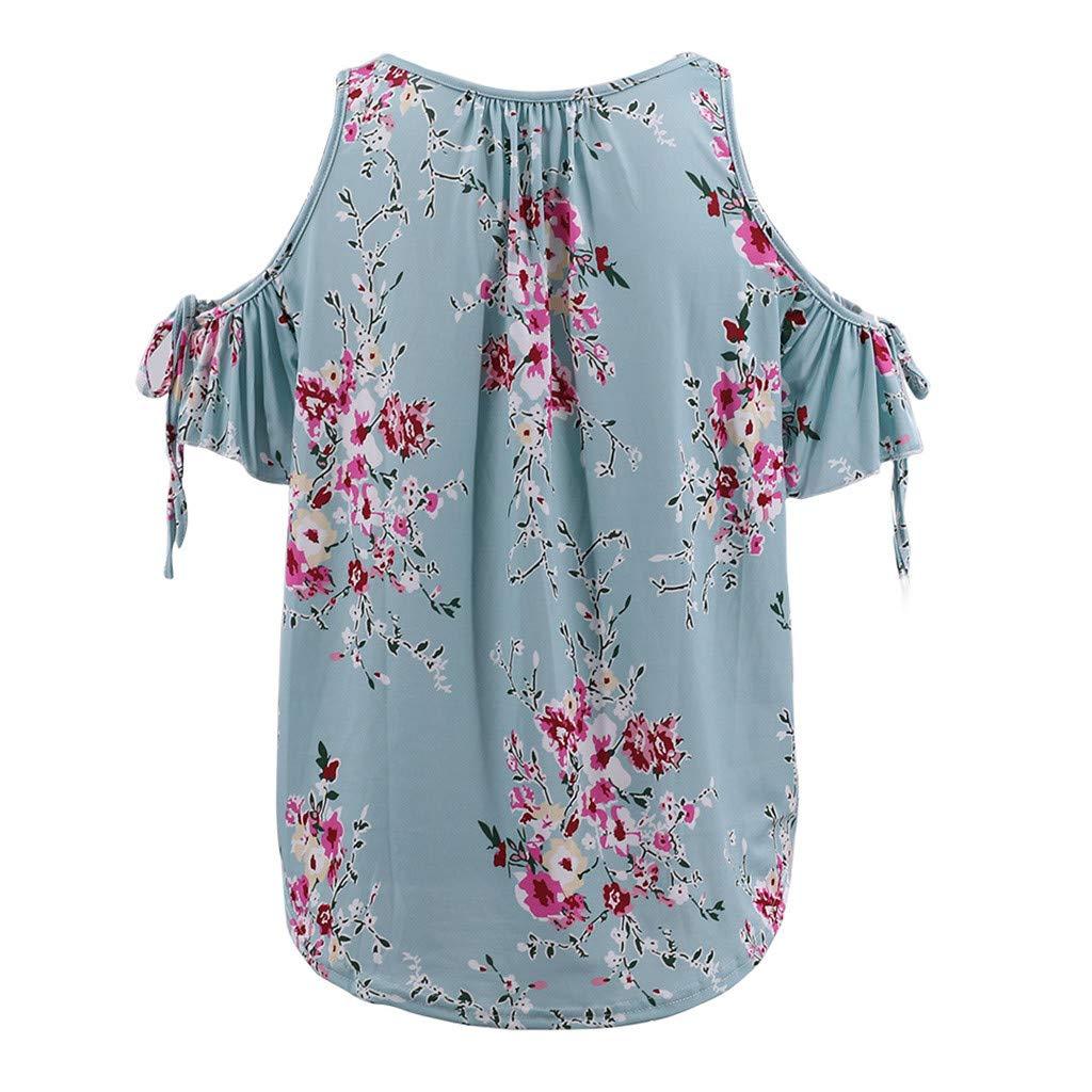 JQjian Womens Casual Strapless Soft T Shirt Loose Off Shoulder V-Neck Printed Ruffled Bandage Tops Blouse