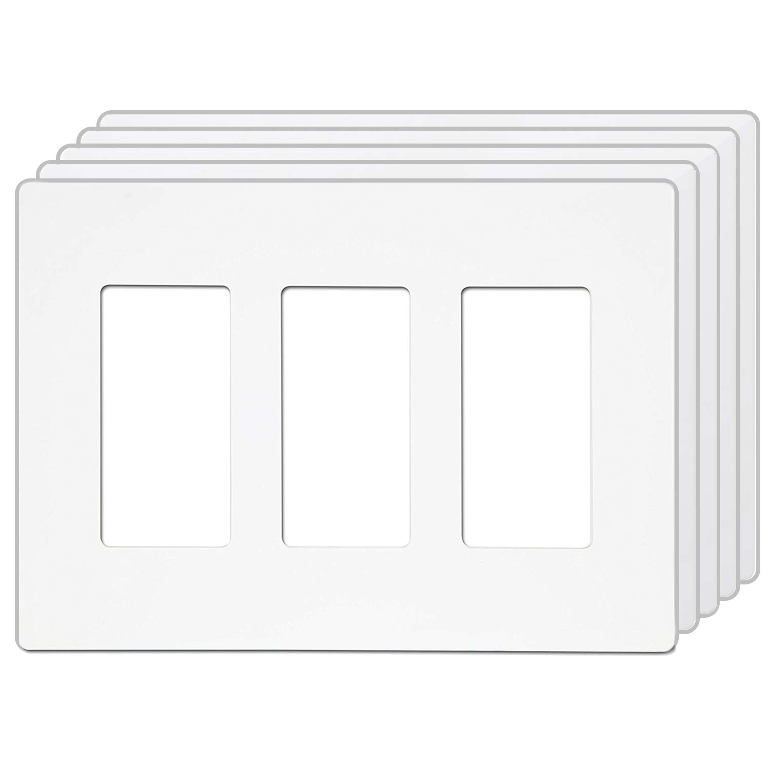 [5 Pack] BESTTEN USWP4 Series, 3-Gang Mid-Sized Light Switch Cover, Screwless Wallplate for GFCI Outlet, USB Receptacle, Dimmer, Timer and Sensor, Child Safe, Unbreakable PC, UL Listed, White