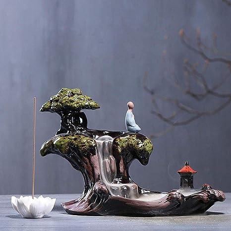 Zen Unique Ceramic Backflow Incense Burner Lotus Handmade Waterfall Incense Burner Holder Cone Incense Burner
