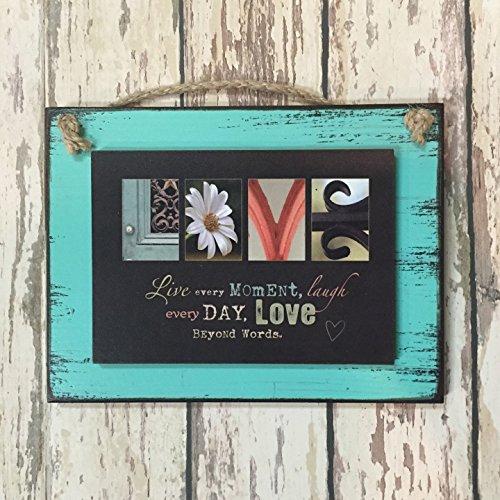 - LOVE Wall Decor Reclaimed Wood Sign letter photo art 6X8 blue red mint aqua LOVE BEYOND WORDS