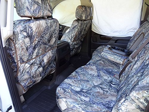Durafit Seat Covers, C1143/C1142 Seat Covers MC2 Camo Endura for Chevy Silverado Front and Back Seat Set. Front 40/20/40 Split Bench and Rear 60/40 Split Bench with fold down armrest with cup holders