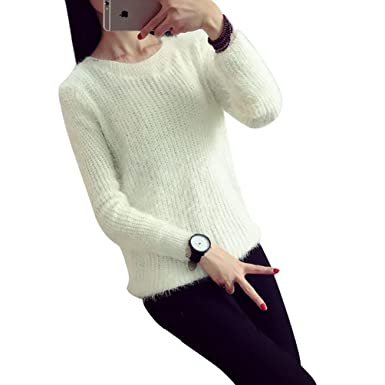 4a23ceb1c233 YOUJIA Women s Sweaters Mohair Pullover Round Neck Gradient Long Sleeves  Soft Winter Sweater Jumper Knitwear For