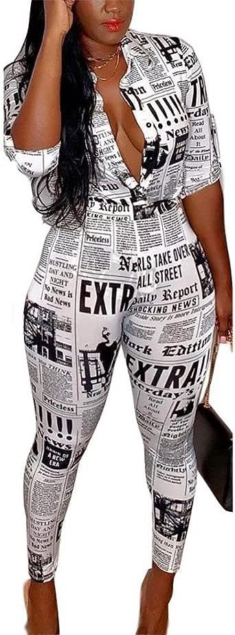Suefunskry Women's Two Piece Outfits Short Sleeve Newspaper Print Shirt Skinny Leggings Pants Set