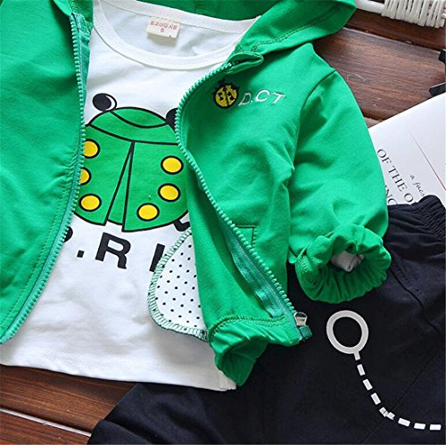 UNIQUEONE 3Pcs Toddler Boys Cute Cartoon Hooded Jacket+T-Shirt+Pant Tracksuit Outfit Size 6-12 Months/Tag80 (Green) by UNIQUEONE (Image #3)