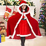 Another Me Santa Clause Cloak, Christmas Consume Long Red Hooded Cape Cloak For Kids Boys Girls