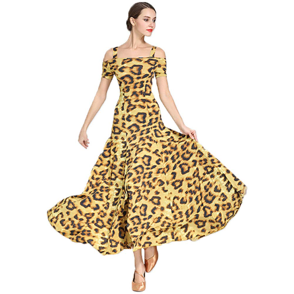 Lyrical Dance Dress Modern Praise Skirt for Women Yellow Slip Dress Sexy Leopard Print Summer Ballet Tango Rumba Ladies Party