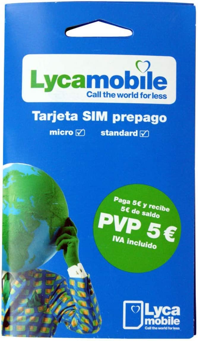 /Mobile Internet/ /National and International Calls/ ID, Nie or Passport /Requires Identification LycaMobile SIM CARD/ /Coverage Movistar/ /5//& # x20AC; Balance/