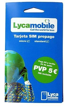 Tarjeta SIM Lycamobile - 5€ de saldo - llamadas nacionales e internacionales - Internet móvil - cobertura Movistar - REQUIERE IDENTIFICACIÓN (DNI, NIE ...