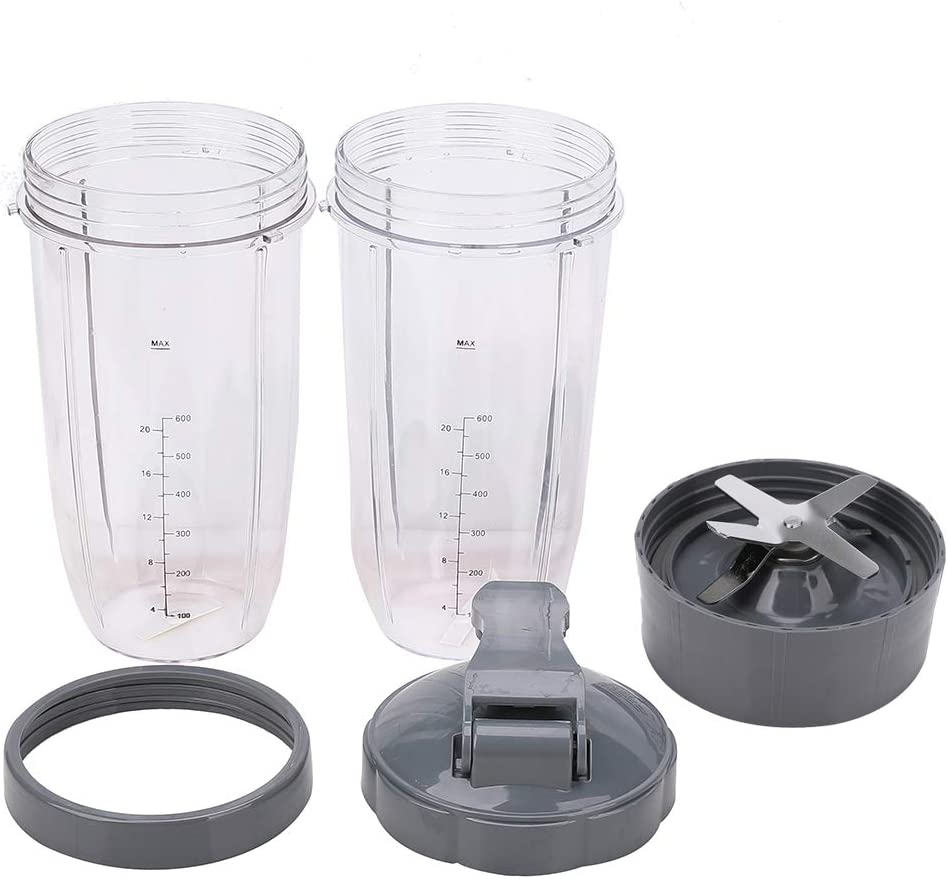 5 Pack Blender 32 oz Cup with Extractor Blade & Lip Ring & Lids Replacement Parts Kit Compatible with Nutribullet 600W Pro 900W Mixer Series Models NB-101B NB-101S NB-201