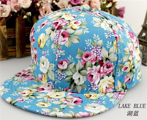 b386f0ff221fe7 Floral Flower Snapback Adjustable Fitted Men's Women's Hip-Hop Cap Hat  Headwear at Amazon Women's Clothing store: