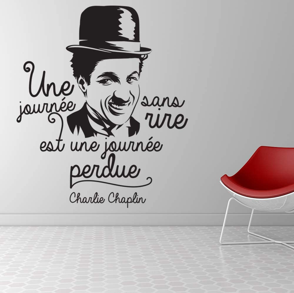 Stickers muraux Marque Beestick Sticker Une journ/ée sans rire noir Taille 51x60 cm Charlie Chaplin