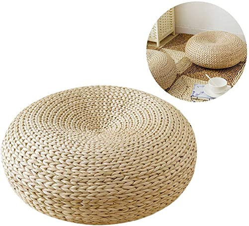 Japaness Style Straw Futon Knitted Round Seat Cushion 45cm Dia Straw Flat Seat
