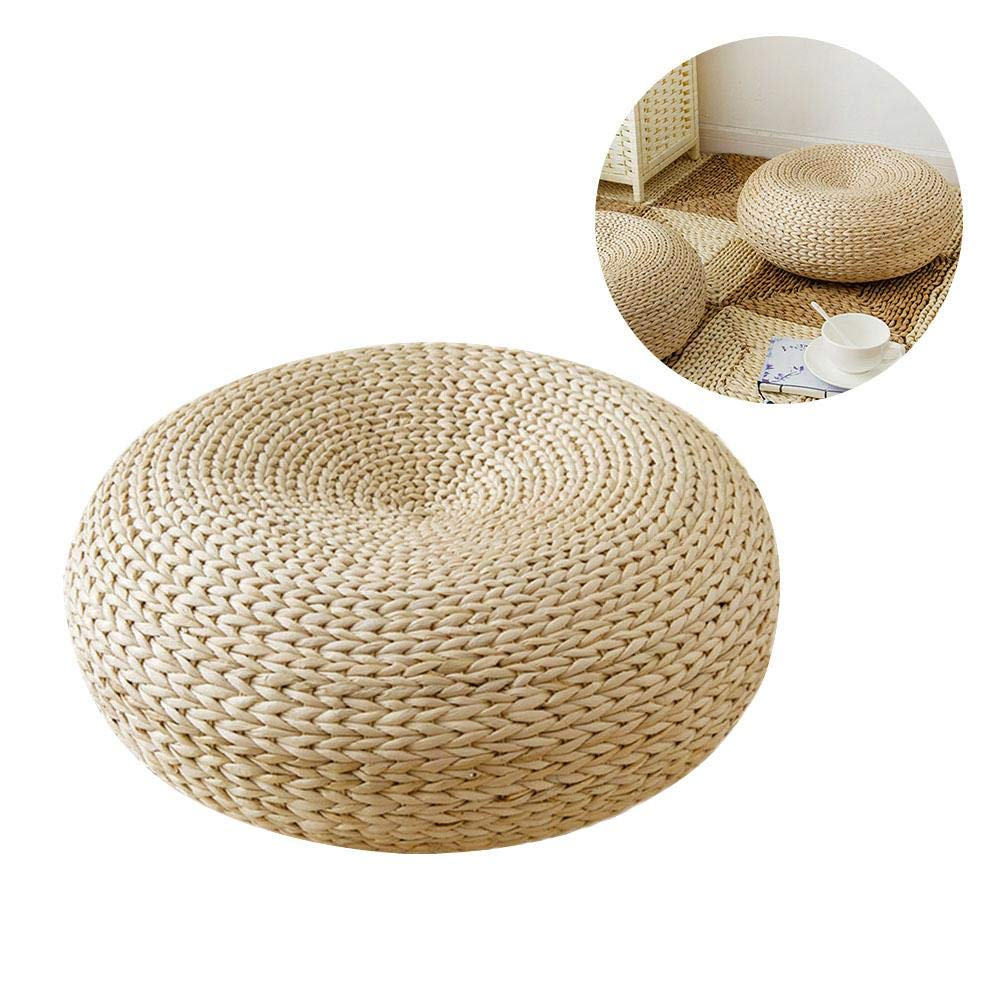 Jannyshop Tatami Floor Cushion Handcrafted Eco-Friendly Pad Knitted Bulrush Flat Seat Cushion Straw Futon Cushion for Home Decoration