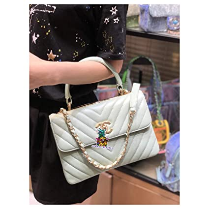 6a0fdd58e85c Image Unavailable. Image not available for. Color: Boy Double C Bag V line  92236 Small Flap Bag with Top Handle Lambskin & Gold
